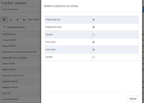 Configurable columns